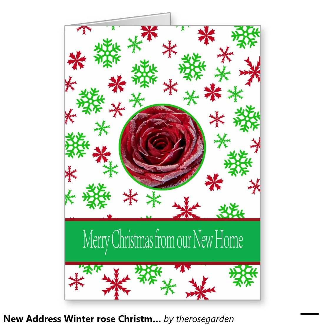 New Address Winter rose Christmas card | New Address Announcements ...