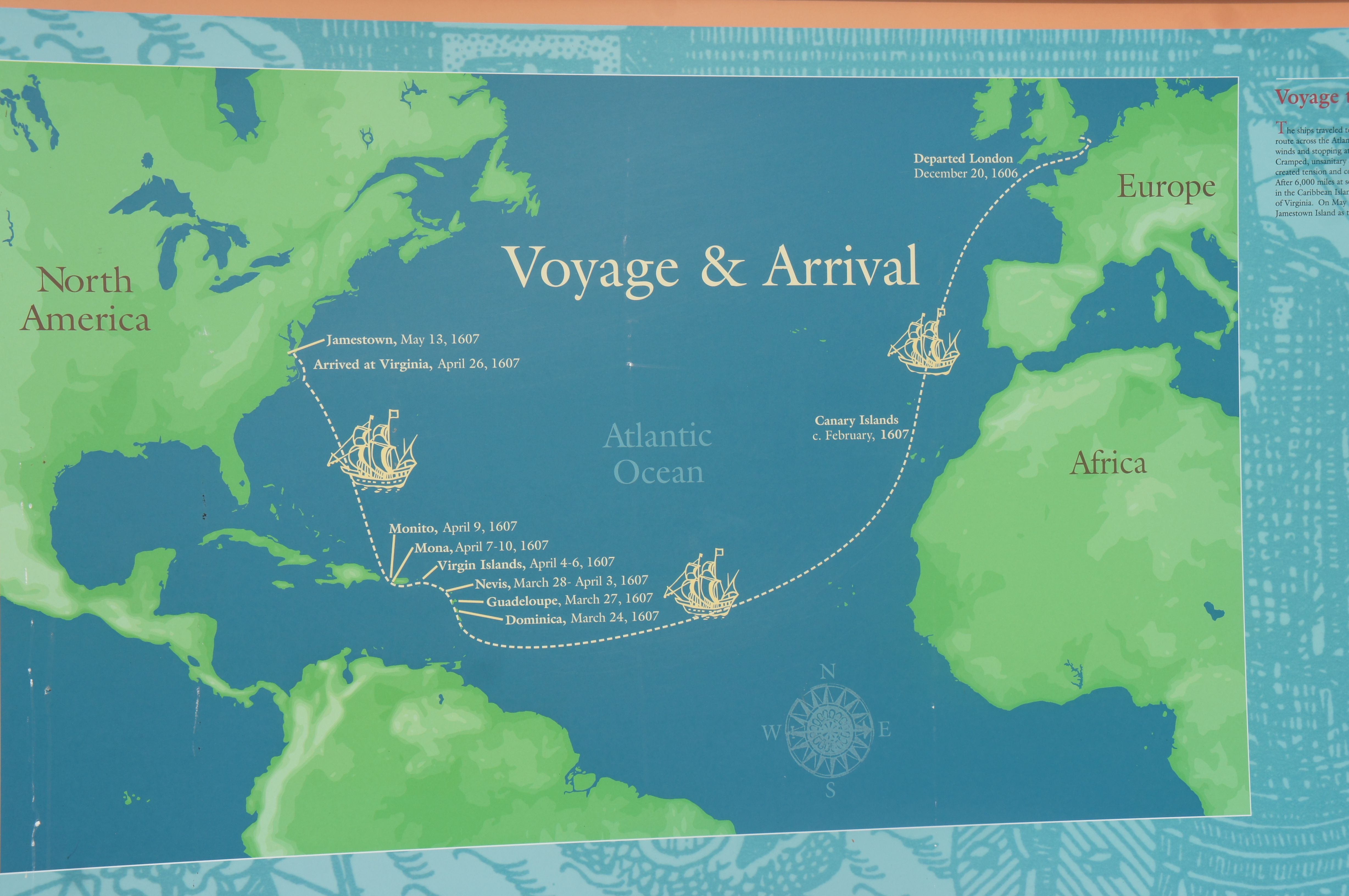 A map marks the voyage from Britain to Jamestown Virginia in 1607