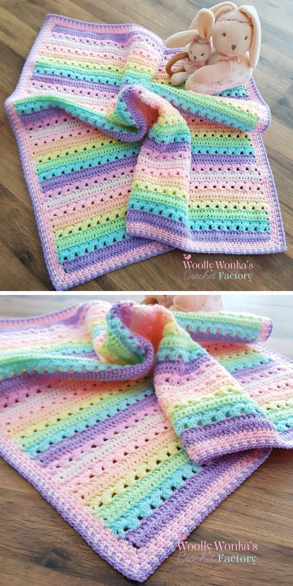 Cosy Stripe Blanket Ideas. Look at how beautiful this blanket it! It's really soft, warm and cosy, therefore perfect for your kiddos to snuggle under it. And above all, you can easily adjust the size of this blanket to match your preferences. #freecrochetpattern #baby #blanket