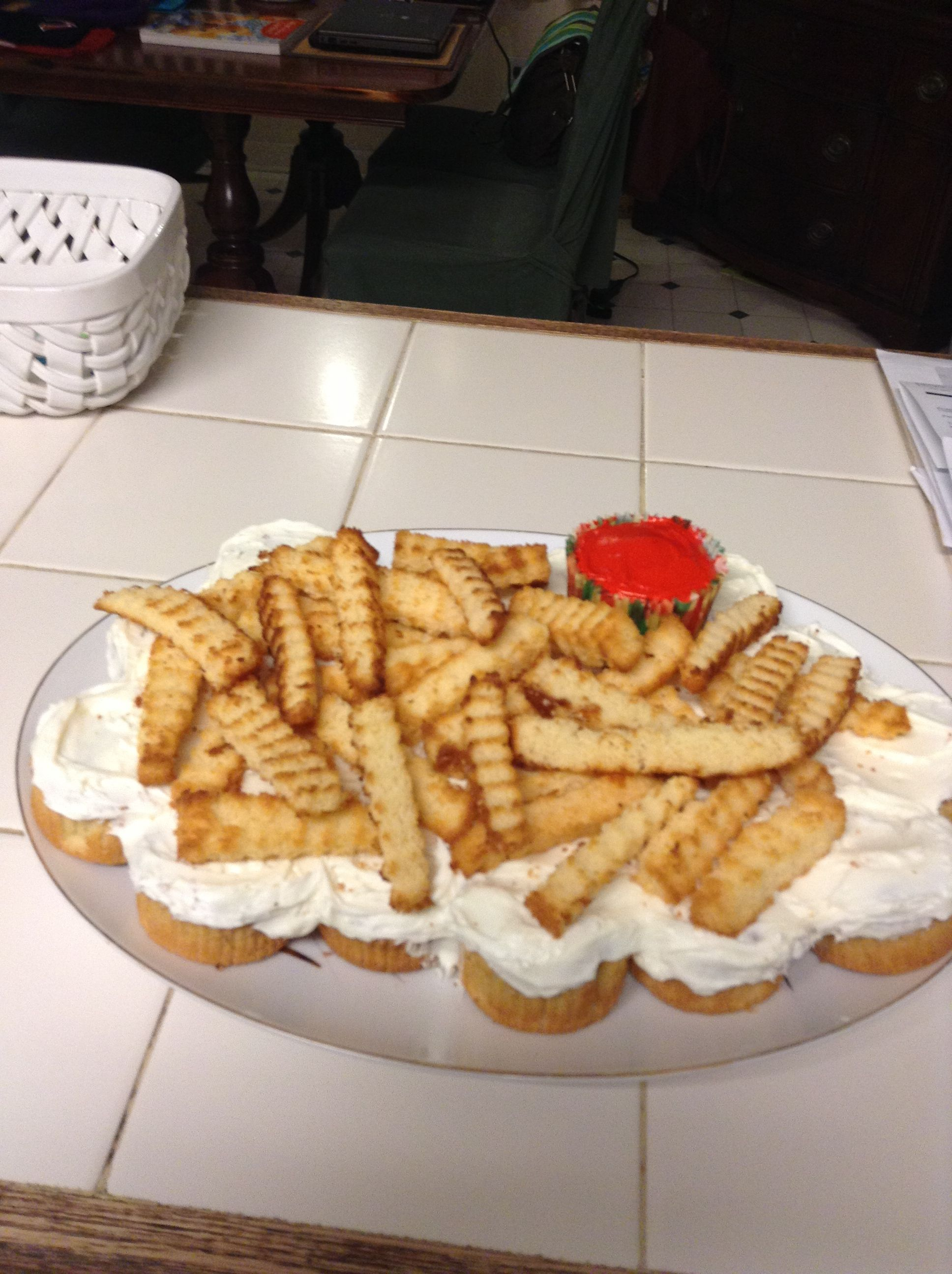 French fry cake fries made from pound cake cut with a