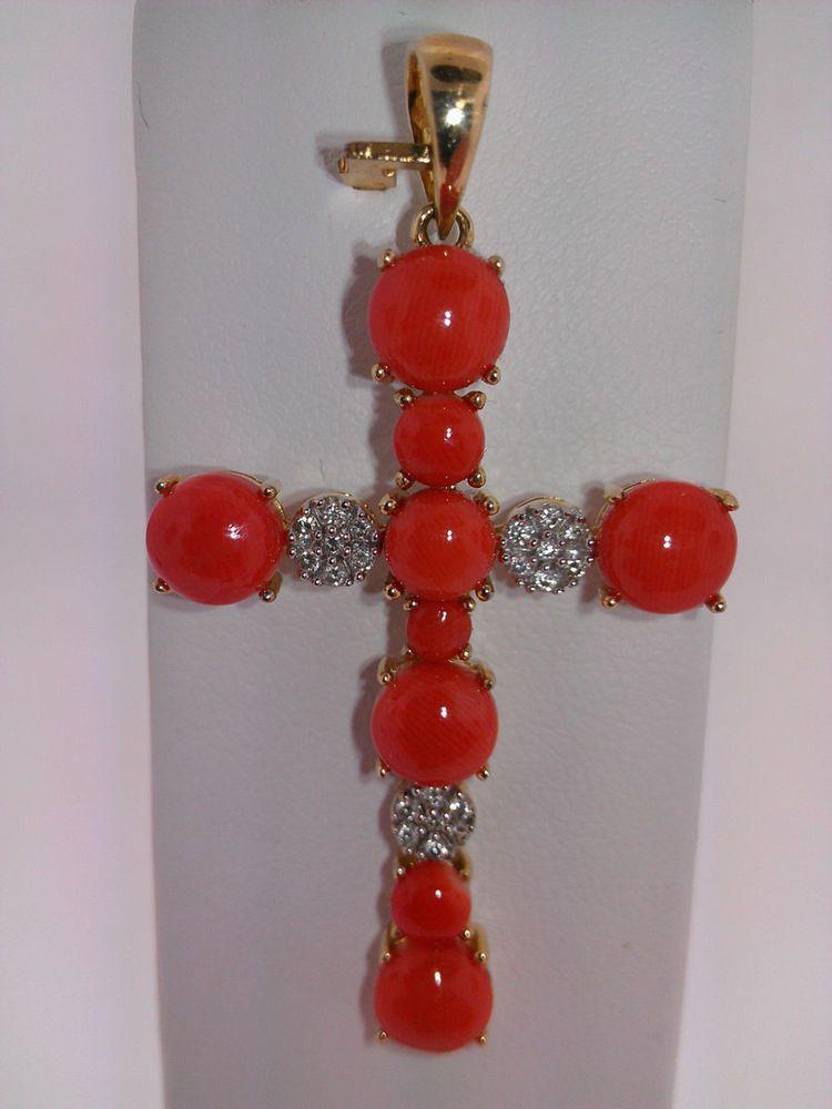 LeVian 14 Karat Yellow Gold Diamond and Salmon Coral Cross Pendant Le Vian