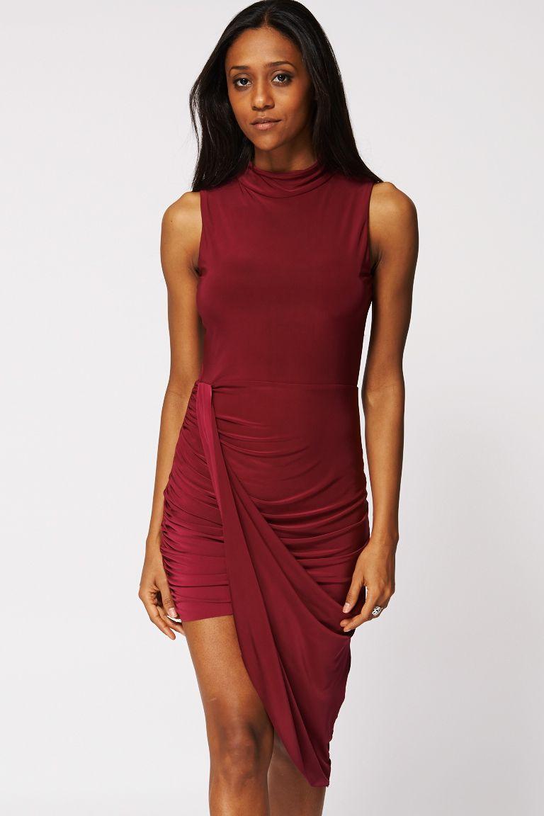 High Neck Side Ruched Dress Cerise