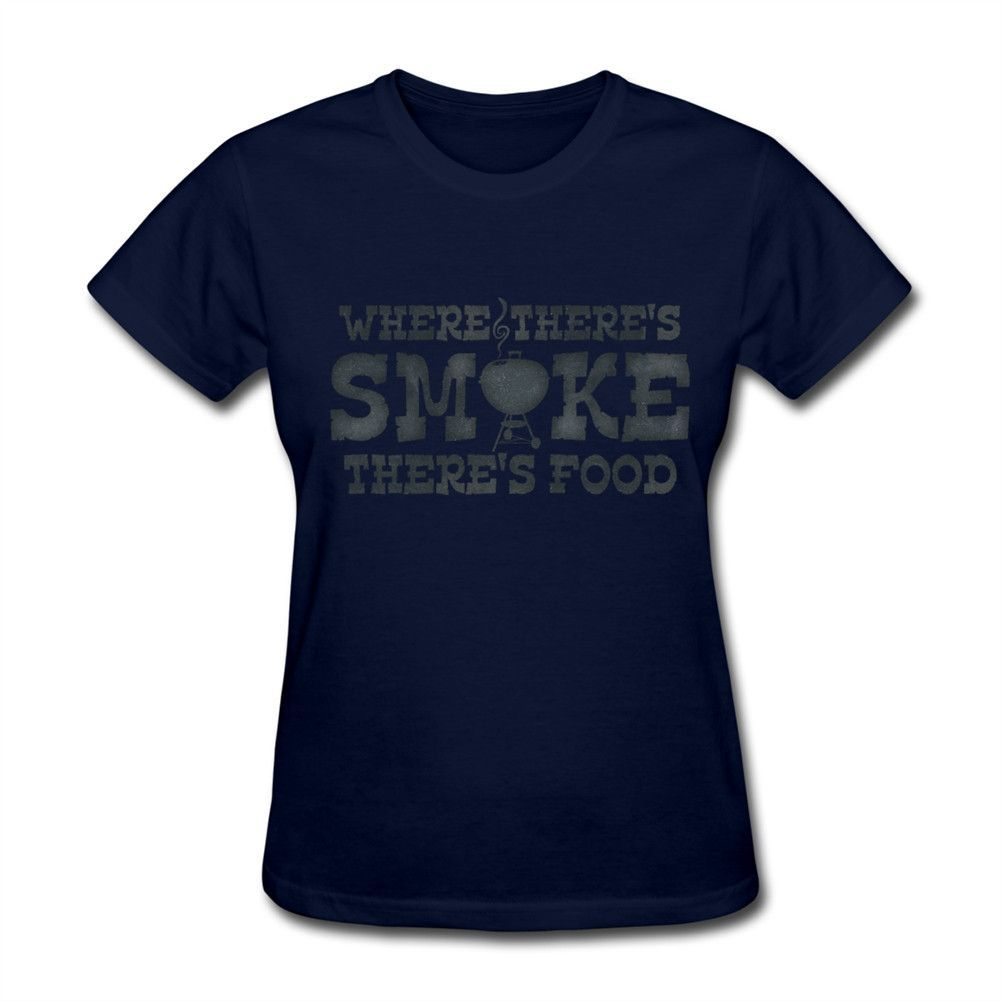 Wholesale Price Shirts Womenship-hop cotton Where There's Smoke There's Food Crewneck Printed With Healthy Ink T-Shirt