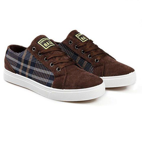 british style men's casual shoes with plaid and laceup