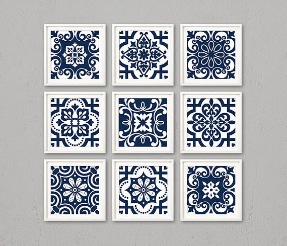 Blue tiles, printable navy white pattern, 8x8 Art, blue decor, Decorative Art, Square Pattern