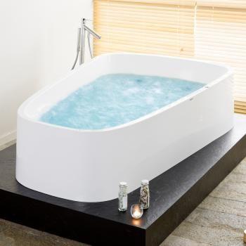 Hoesch SingleBath Duo freistehende Badewanne, Überlauf links, für