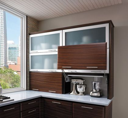 Starmark Cabinetry Wall With Appliance Door Vertical Lift Up The