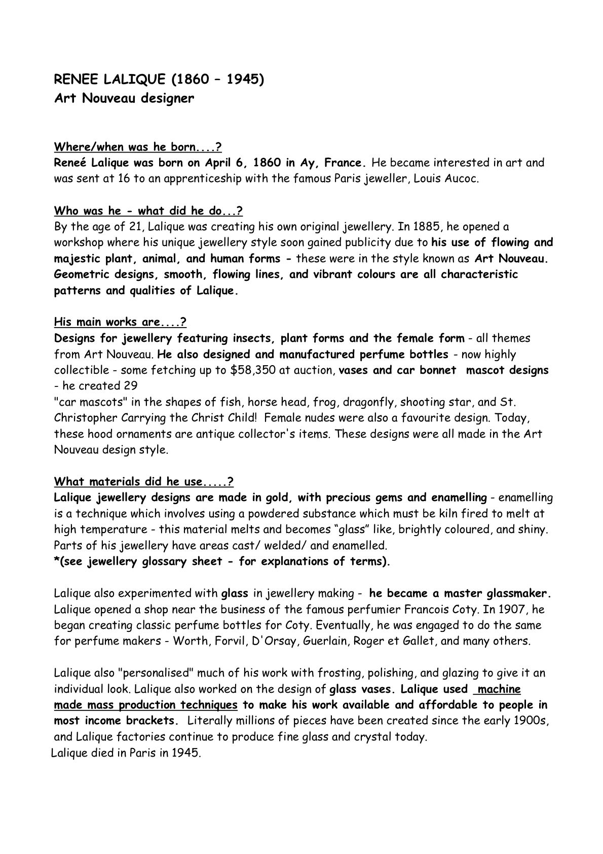 Reflective Essay On High School  Essays On Business Ethics also English Essay Books Lalique Biography  Vintage Jewelery  Art Nouveau Design  How To Write A Proposal For An Essay
