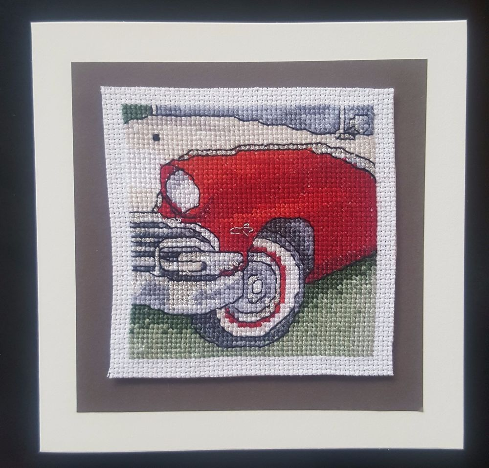 Dad Birthday Card Father s Day Vintage Red Car 16 count aida Cross Stitch Silver