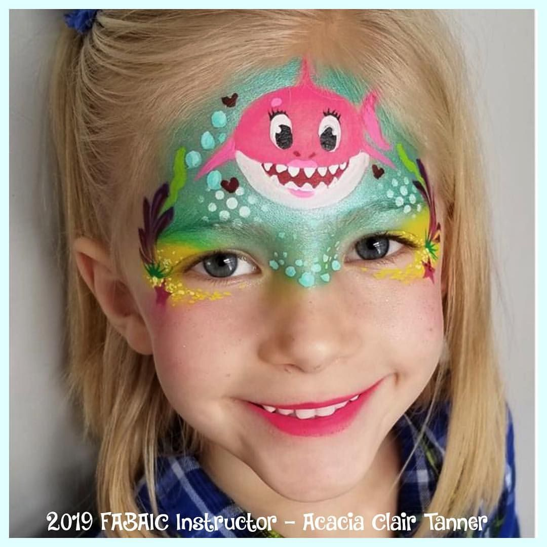 Baby Shark Shark Face Painting Mermaid Face Paint Face Painting Easy