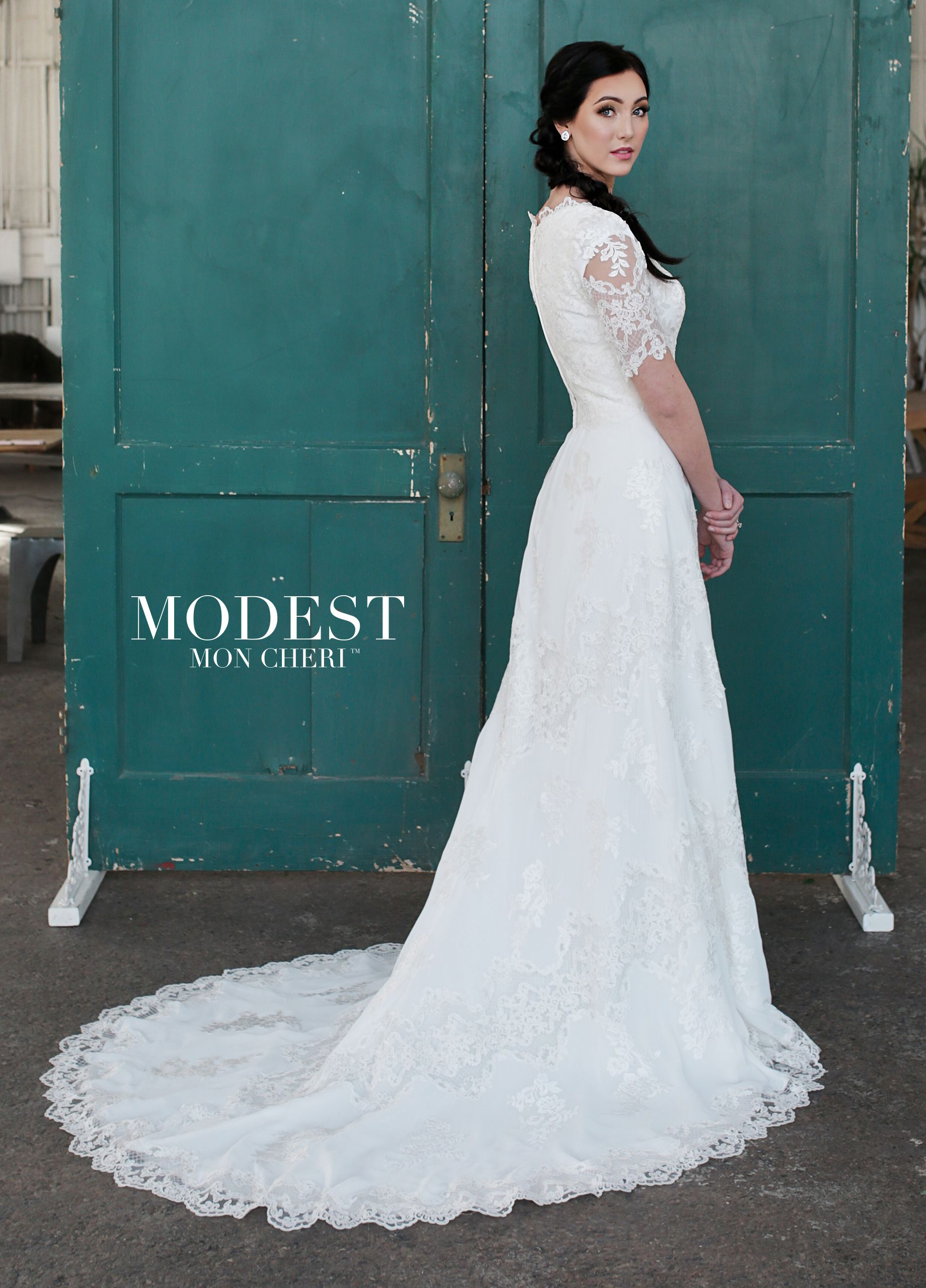 Lace cap sleeve a line wedding dress  Chiffon Tulle u Lace ALine Modest Wedding Gown with Cap Sleeves