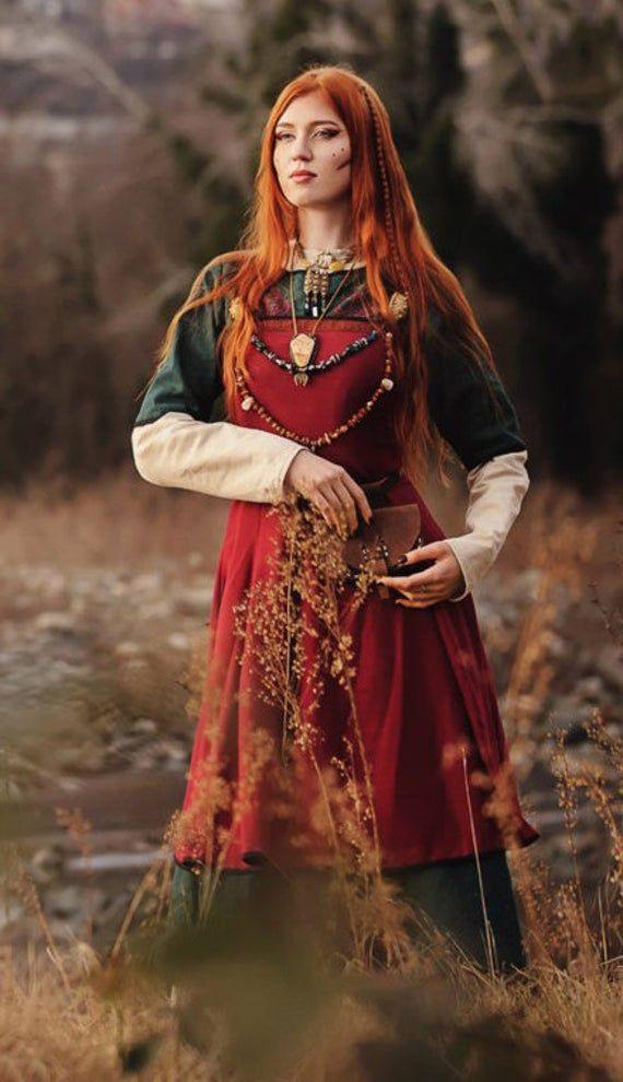"""Photo of Wikinger-Kostümkleid; Wikingerkleid """"Freya""""; Wikinger-Schürze; Leinenkleid; Naturgewebe; Nordkleidung; Wikingerkleidung"""