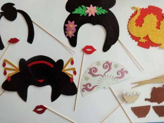 Oriental Photo Booth Props Geisha Wedding Briday Shower Dragon