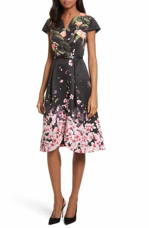 fe0db887d519f6 Ted Baker London Peach Blossom Faux Wrap Midi Dress