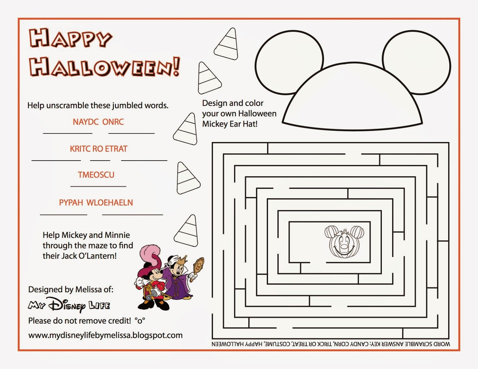 My Disney Life Halloween Activity Sheet