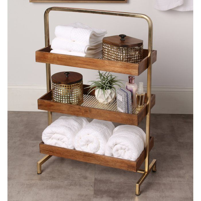 Experience The Warmth Of Walnut Wood And Gold That This Free Standing Decorative Shelving Can Bring Free Standing Shelves Freestanding Bathroom Shelves Shelves
