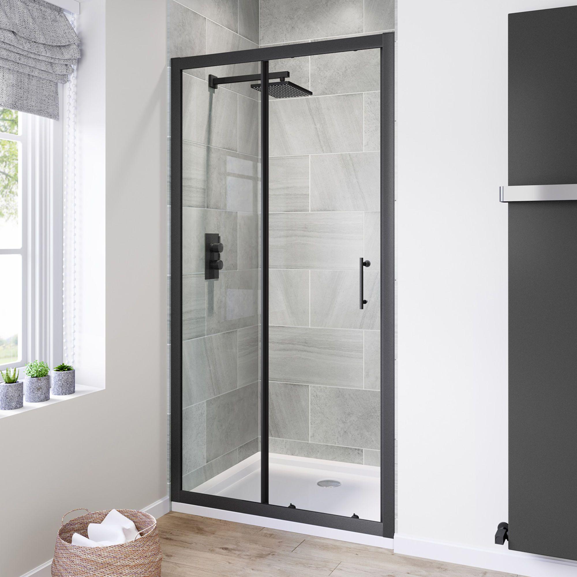 1000mm 6mm Black Frame Sliding Shower Door Soak Com Black