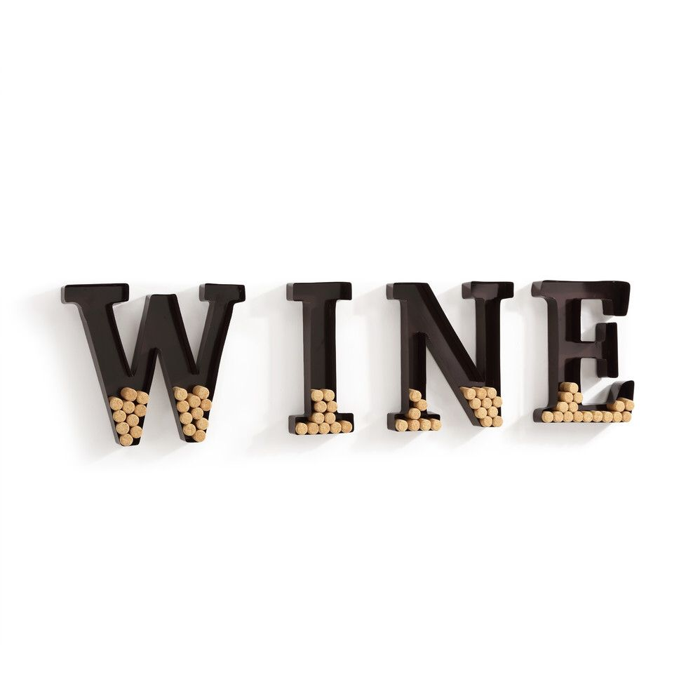 """Metal Wall Mount """"Wine"""" Letters Cork Holder Wall Décor"""