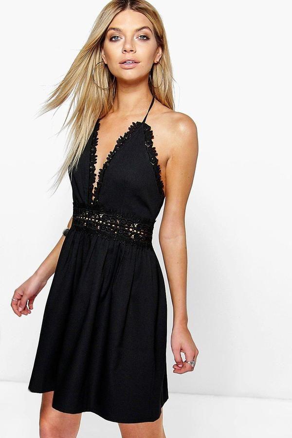 e8f55fe052 boohoo Savannah Crochet Lace Skater Dress | Products | Pinterest ...