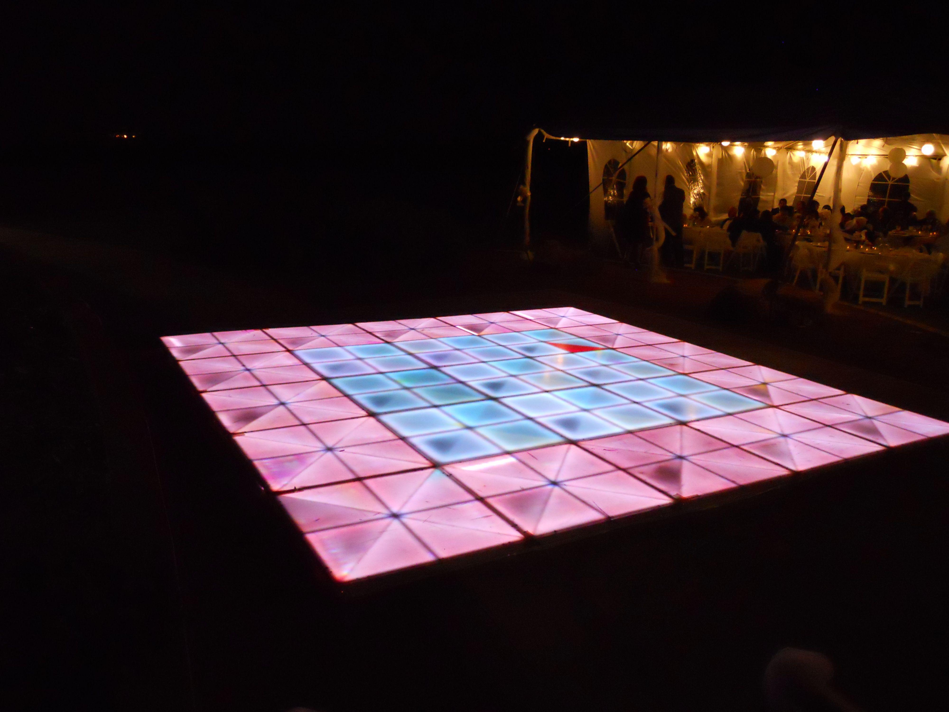 Light up dance floor for outdoor wedding at Butterfield Trail Golf