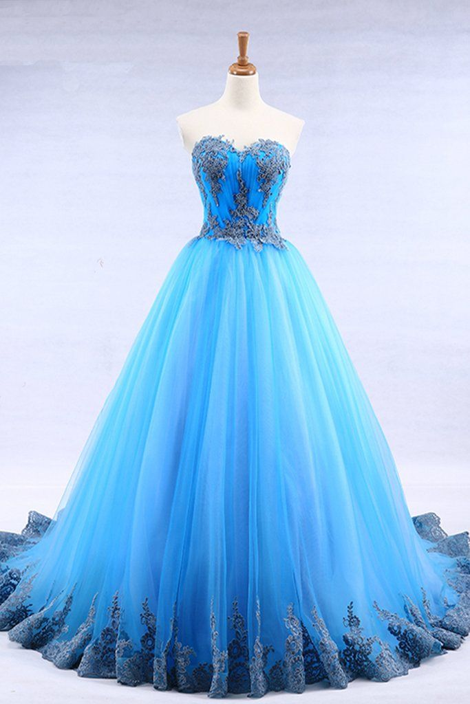 Bright Blue Tulle Sweetheart Neck Long Strapless A Line Senior Prom Dress With Applique Senior Prom Dresses Dresses For Teens Prom Dresses Blue