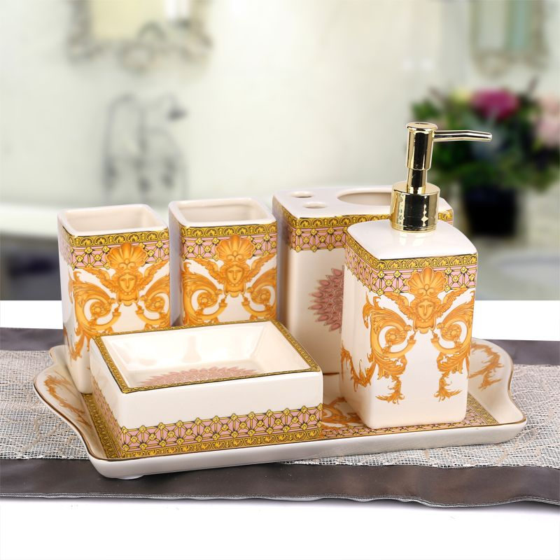 Bathroom Set Suppliers 2017 European High Grade Ceramic Sanitary Suit With Tray Toiletries Kit Housewarming Gift Wedding Fashion