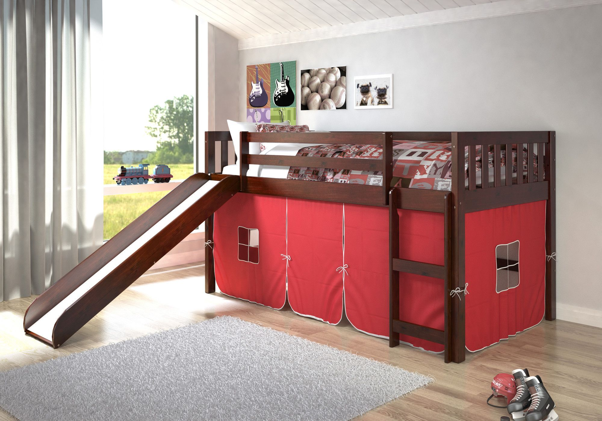 Low loft bed twin  Maribel Mission Twin Low Loft Bed  Low loft beds Lofts and Twins