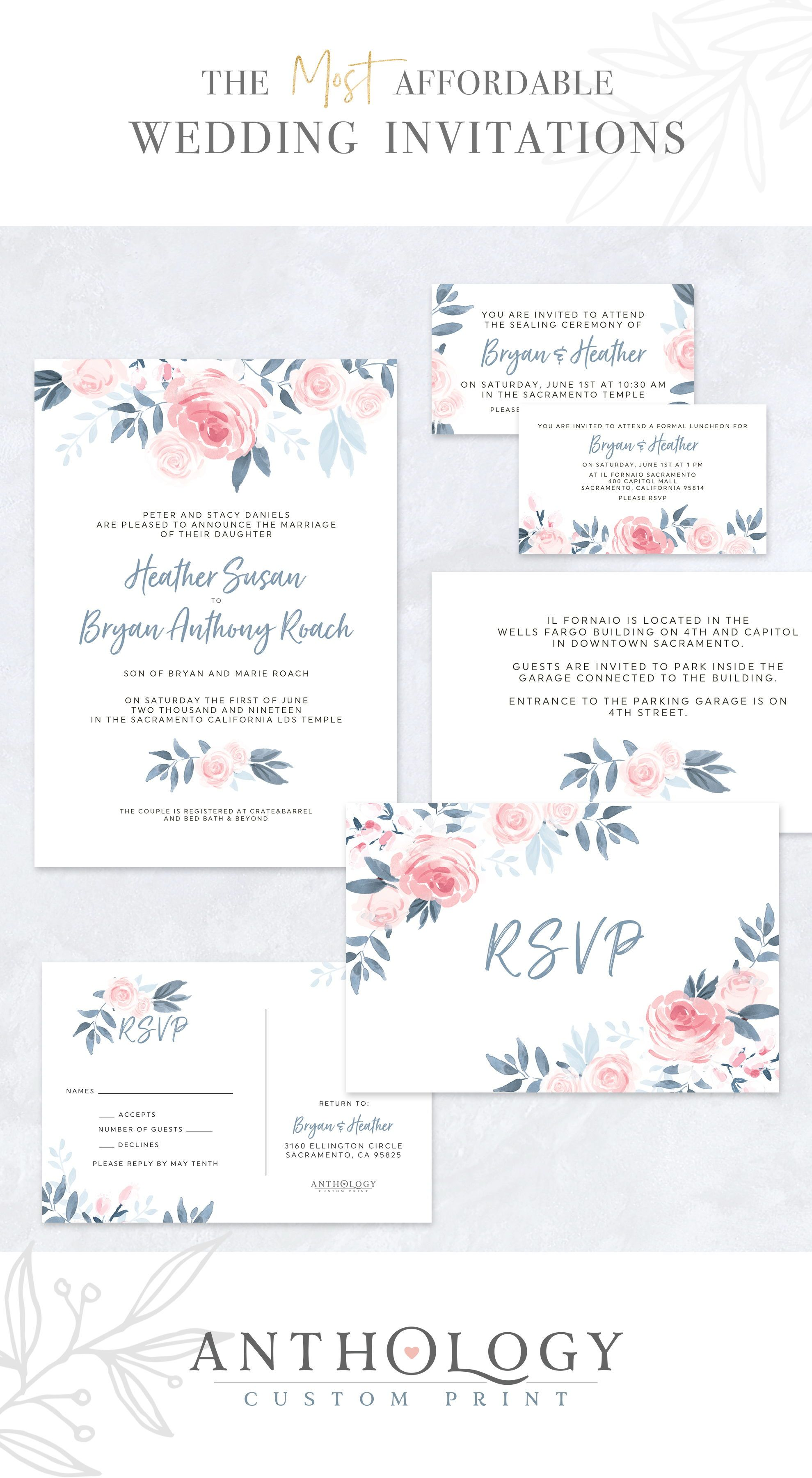 Watercolor Floral wedding invites Affordable Wedding