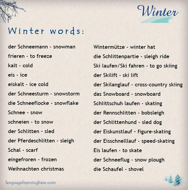 German Winter Vocabulary Learn German Words Vocabulary German German Language Learning German Words Learn German