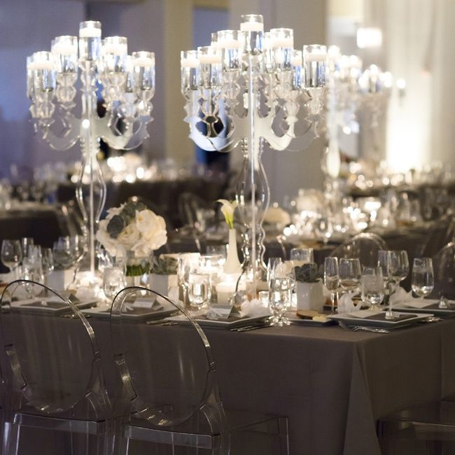 Evening Wedding Reception Decoration Ideas: Modern Gray Reception Decor // Photo By: Averyhouse