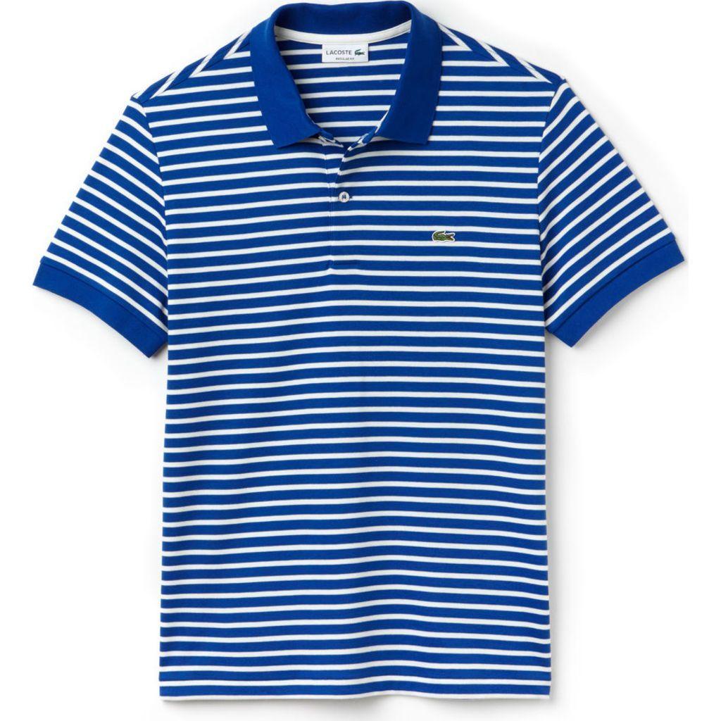 f27643e6 Lacoste Regular Fit Striped Men's Polo Shirt   Steamship Blue/White ...