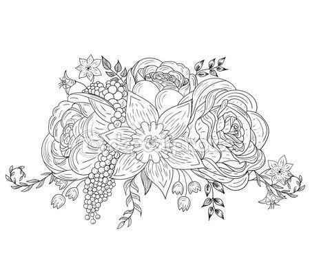 Un ramo de flores para colorear libros, imprime. Ilustración ...