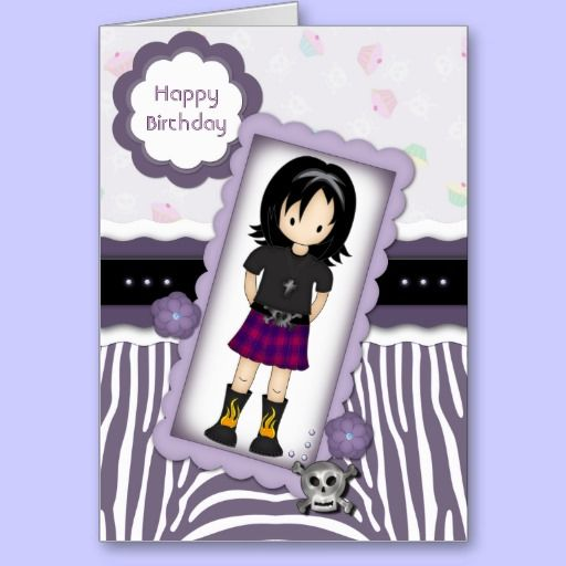 Arts Crafts Style Emo Girl Birthday Card Purples – Emo Birthday Cards