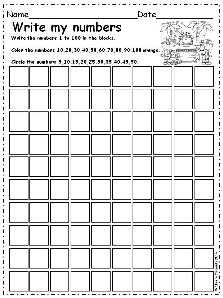 Printable Worksheets number recognition worksheets for kindergarten : Write Numbers 1-100 (find patterns) | 5 s, Number and Math