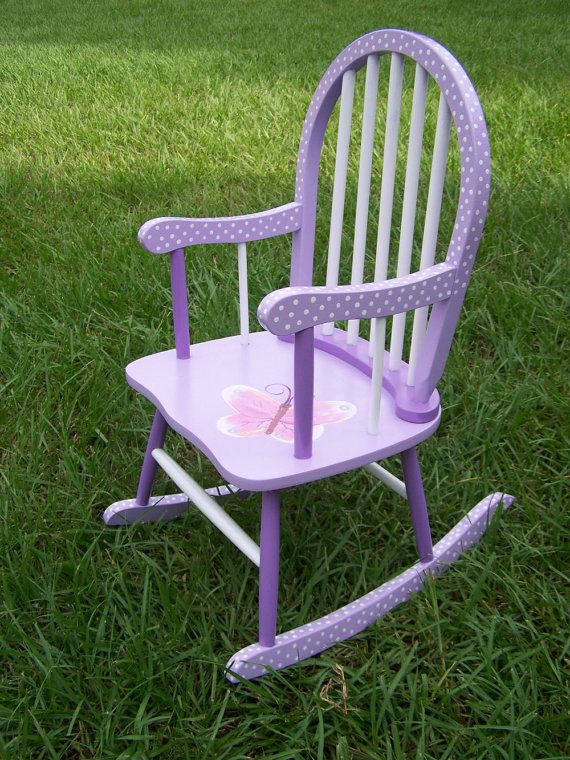 Painted Purple Polka Dot Rocking Chair