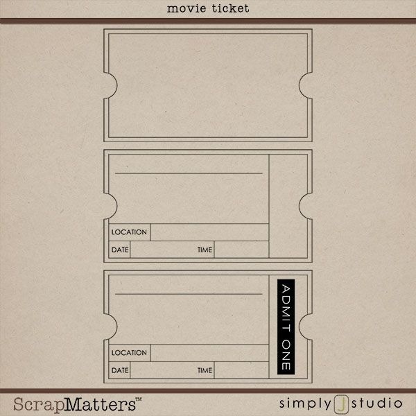 Movie Ticket by Simply J Studio Crafts Pinterest Movie - free printable movie ticket template