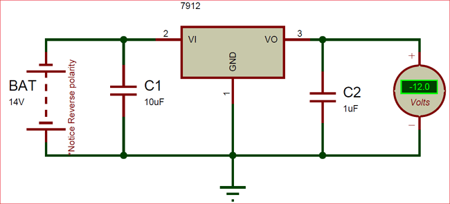 Circuit Diagram Of Lm7912 Negative Voltage Regulator  With