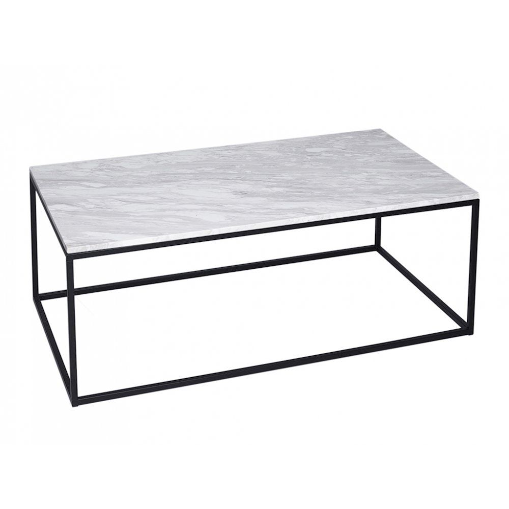 Gillmore Space White Marble And Black Metal Contemporary Rectangular - Rectangle white marble coffee table