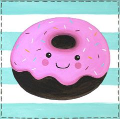9f2090951a2 Not only does this donut look happy... she also looks delicious! Delicious  Donut would be a great design for a birthday party or even just because!