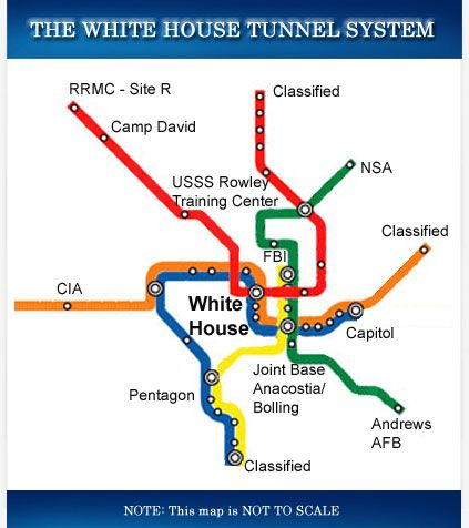 White House Tunnel System Map Connect The WH To The Eisenhower - White house on us map
