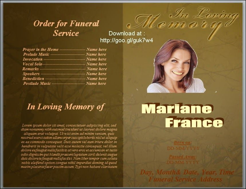 Download Free Branch Trees Theme Funeral Program Template With