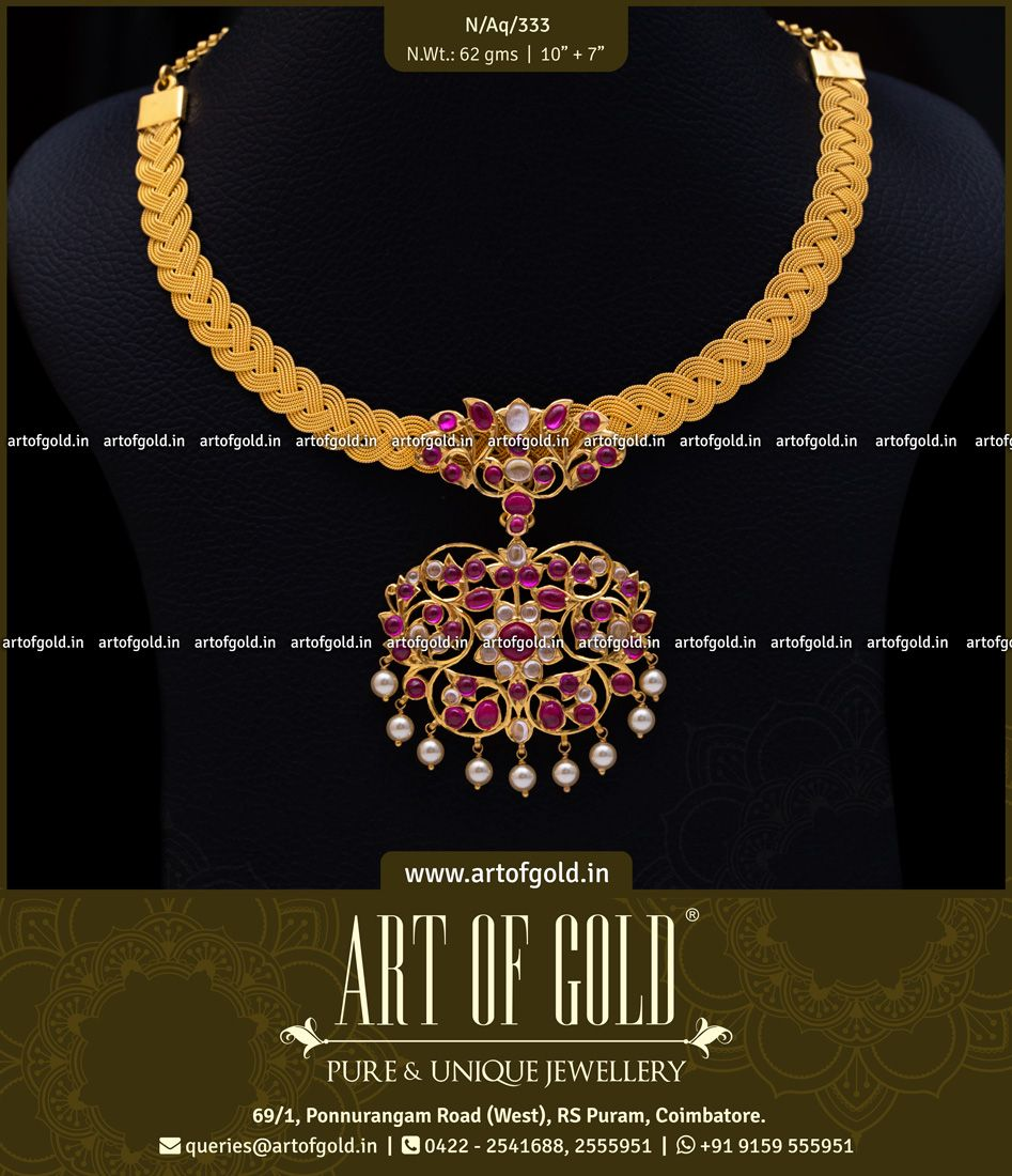 6da01fd0f2913 Gold Mesh Necklace with Kemp & Kundan pendant. It's incredible what ...