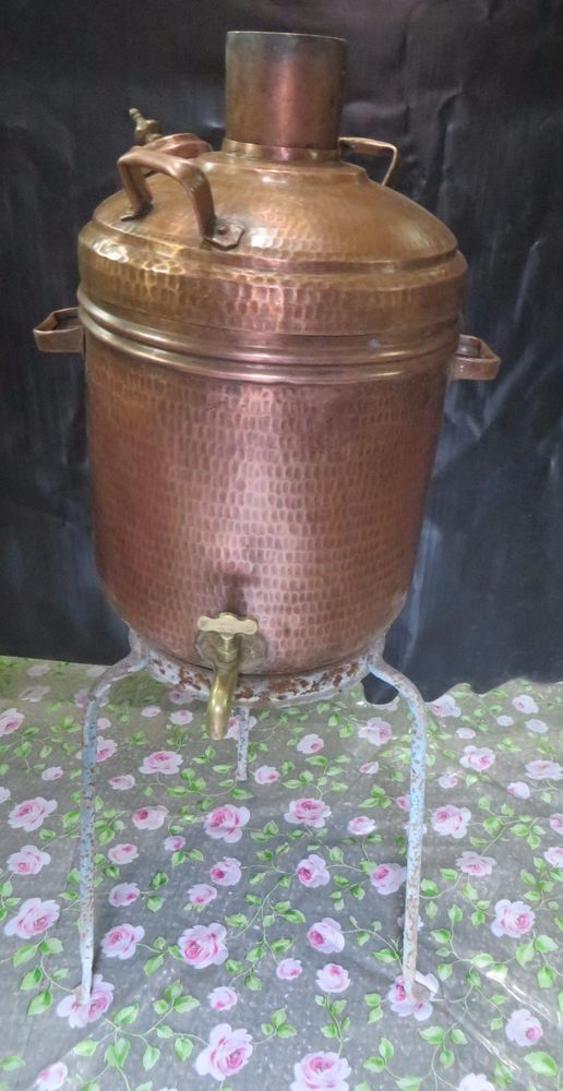 Antique Coal Fired Water Heater Boiler Hammered Copper Brass Fixture Super Fine Traditional Handcrafted Water Boiler Boiler Heater Wood Fuel