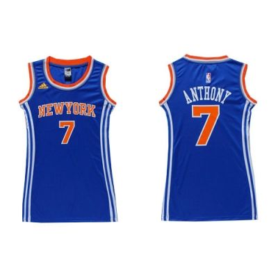 Carmelo Anthony Authentic In Royal Blue Adidas NBA New York Knicks Dress #7 Women's Jersey