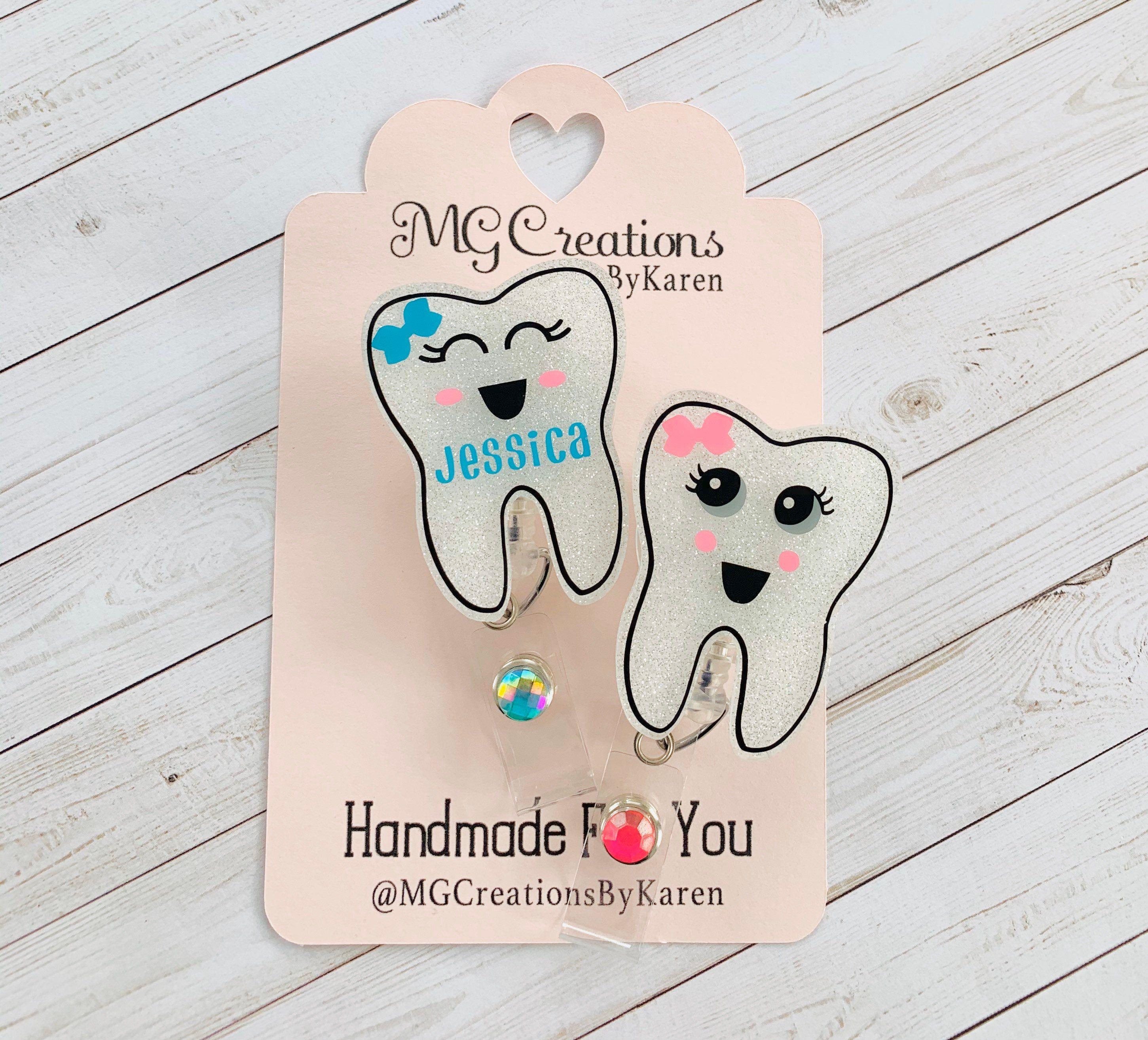 673M Happy Teeth Dental Hygienist Dentist Office Badge Reel ID Holder Teal