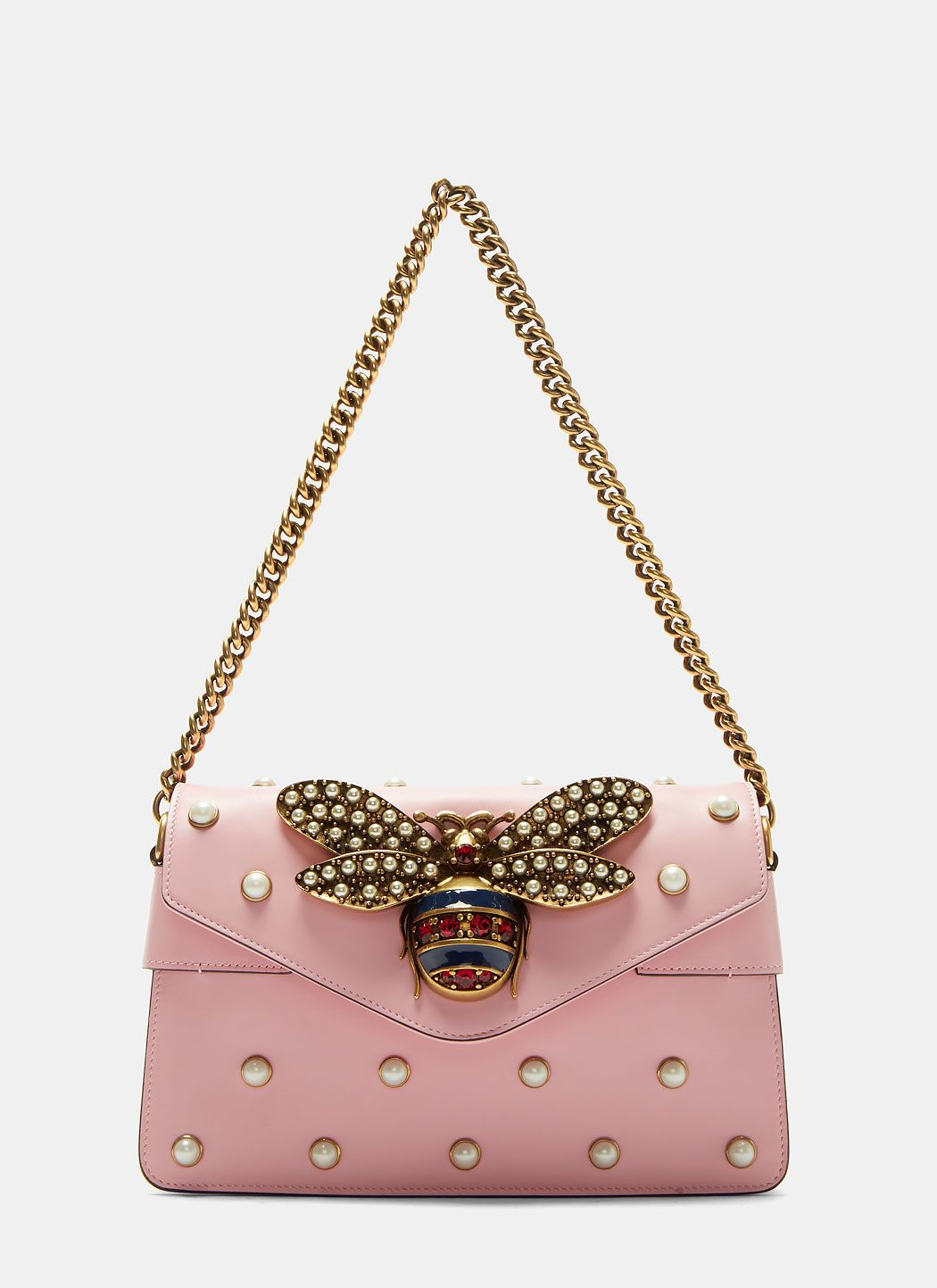 d02e7ff80 GUCCI Broadway Pearl Studded Bee Clutch Bag In Pink. #gucci #bags #shoulder  bags #clutch #leather #crystal #hand bags #