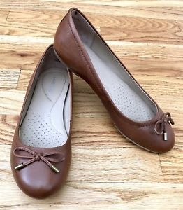 f4bac3f862ca Lands End Ballet Flats Size 7.5 Womens Bianca Shoes Tan Brown Leather Bow  Dress