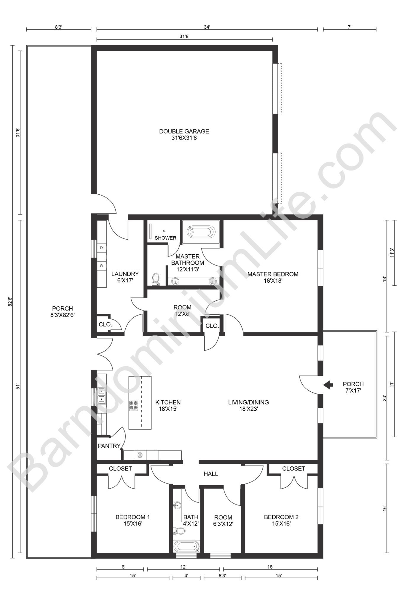 Hines Family Barndominium 28 Incredible Pictures Helpful Tips Floor Plan And More In 2020 Barndominium Floor Plans Barndominium Floor Plans