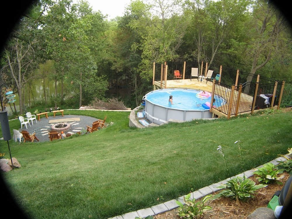 Image result for Above Ground Pools On Sloping Landscape ... on Steep Sloped Backyard Ideas id=67032