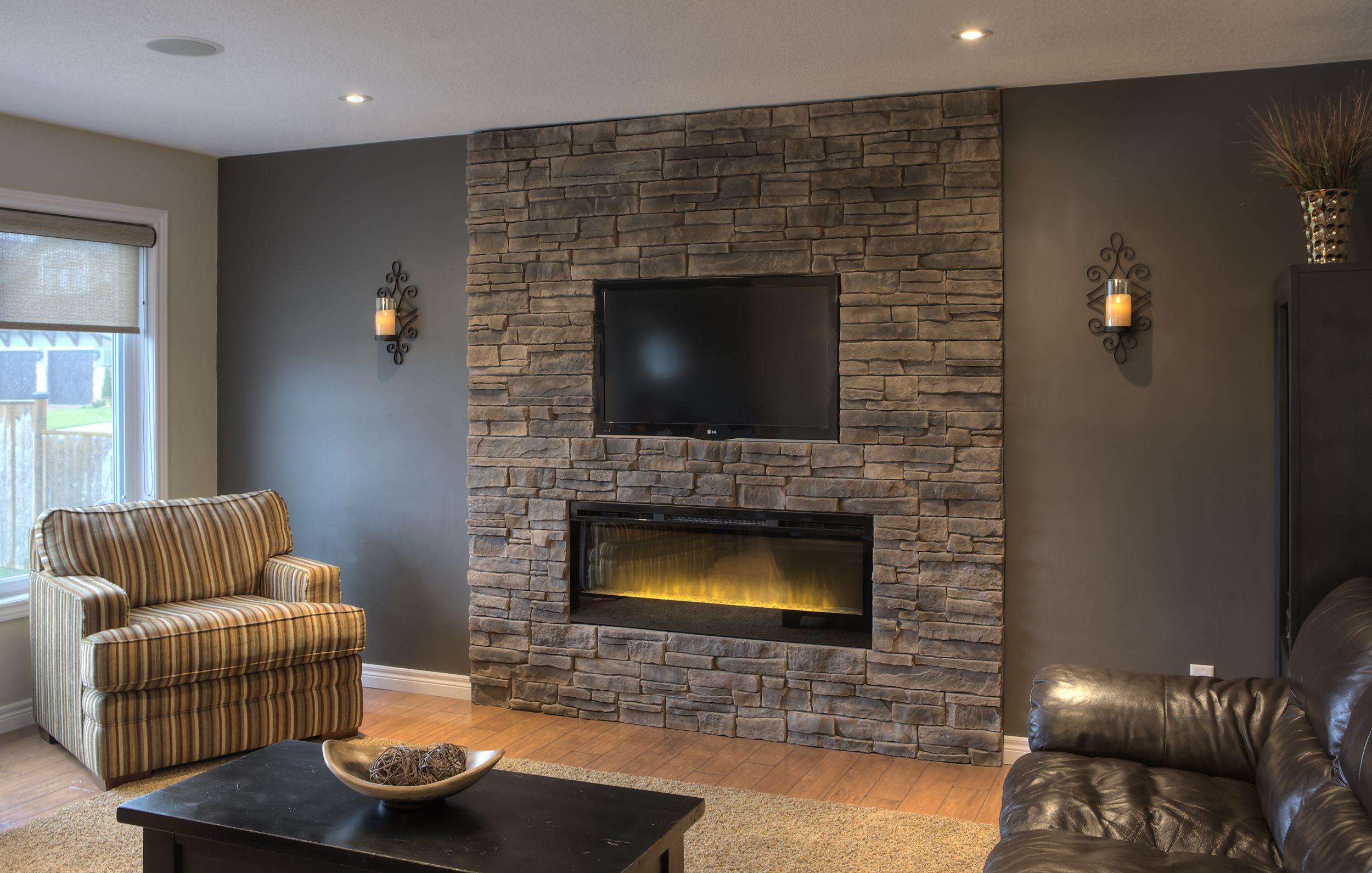 Diy Stone Install Fusion Great Lakes Stone In Raven Woonkamer Met Open Haard Stenen Muur Huis Inrichting Industrieel